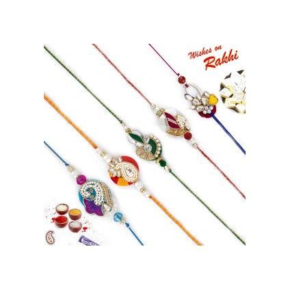 Set of 5 designer Multicolor Rakhi