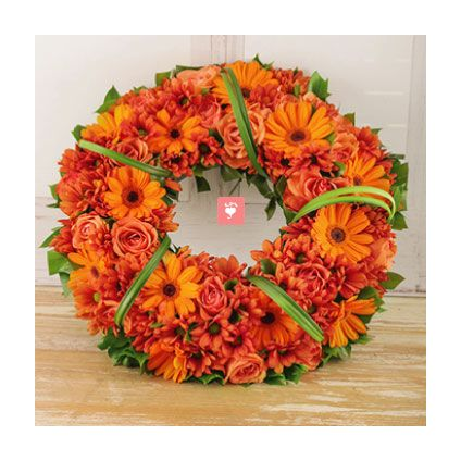 Orange Roses and Gerberas Wreath!