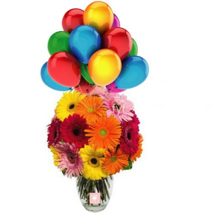 20 mixed gerberas in vase with 10 Balloons