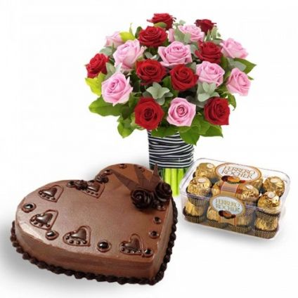 Bunch of 20 Red and Pink Roses, 1 kg heart shaped chocolate cake with 16 Pcs Ferrero Rocher