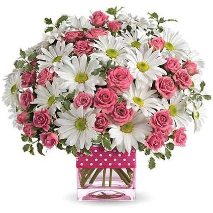 pink and white bouquet with vase