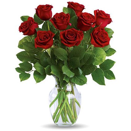 9 Red rose and fresh lemon leaves graceful vase