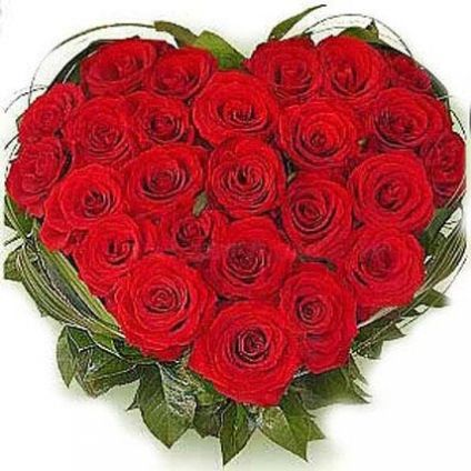 Heart shaped bunch of 24 Red roses