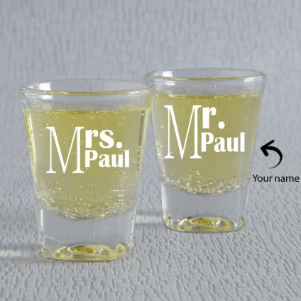 Mr. & Mrs. Personalized Shot Glasses: Set Of 2