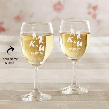 Engraved Wine Glasses: Set Of 2