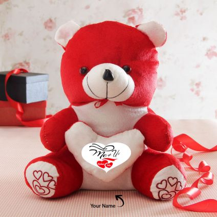 Two Names Personalized Red Teddy