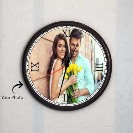 Personalised Photo Wooden Black Watch