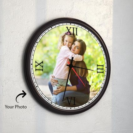 Round Wooden Framed Clock With Personalized Photo
