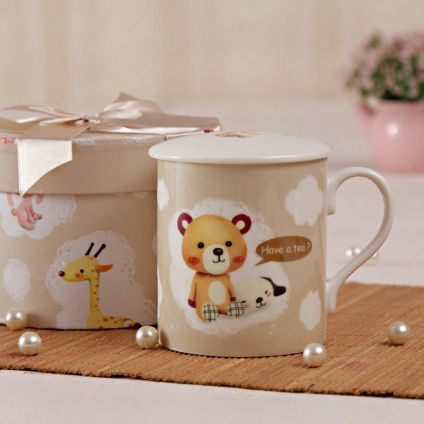Teddy Printed Mug With Cover