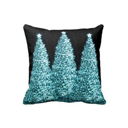 Elegant Christmas Trees Turquoise Throw Pillow