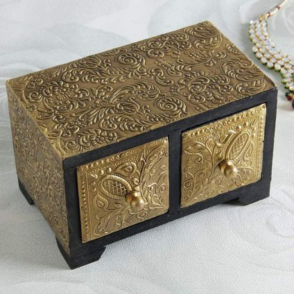 Brass Embossed Wooden Jewelry Box
