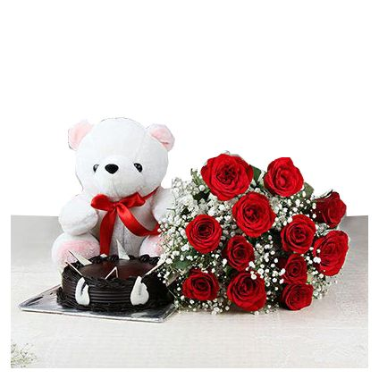 A Bunch of 12 Red Roses with Half Kg Chocolate Cake and Teddy Bear