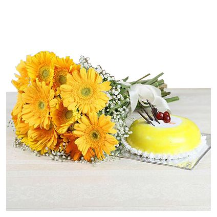 12 Yellow Gerberas with Half Kg Pineapple Cake