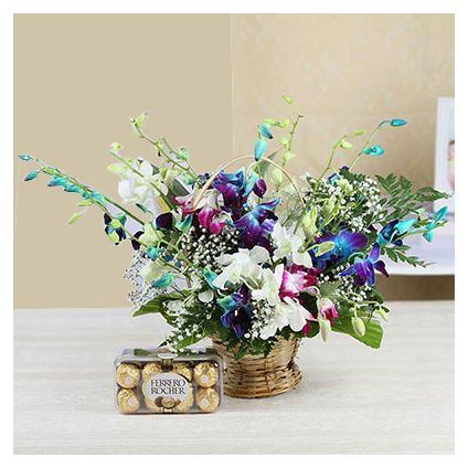 12 Mixed Orchids with 16 Pcs Ferrero Rocher