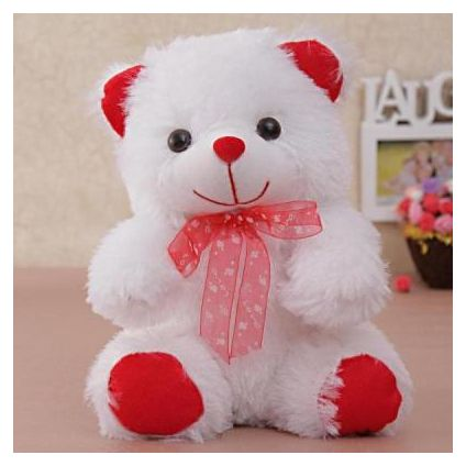 Cute Furry White Teddy Bear Soft Toy
