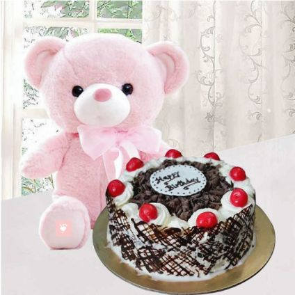 Black Forest Cake 1/2 kg and 6 inches teddy bear