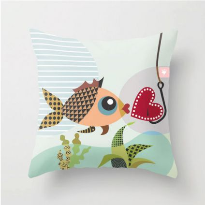 Valentine Pillow, Gift For Lovers, Fish Throw Pillow Cover