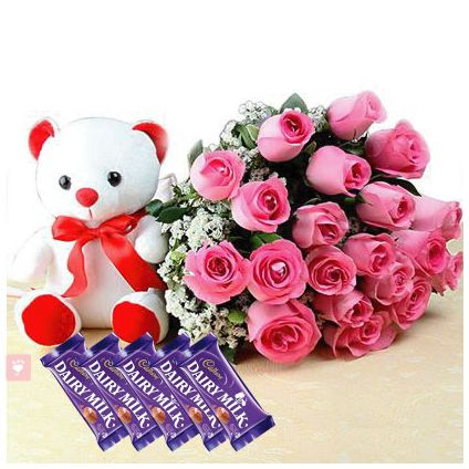 20 Pink Roses with Teddy Bear and Dairy Milk Bars