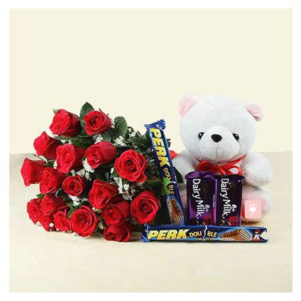 18 Red Roses with 4 Chocolate Bars & Teddy Bear