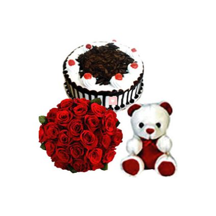 A Bunch of 100 Red Roses with Half Kg Chocolate Cake and Teddy Bear