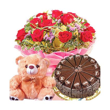 A bunch of 20 mixed carnationn 1/2 kg chocolate cake and 6 inch teddy bear