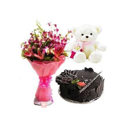 A vase of 10 purple orchids 1 kg chocolate cake and (12-inch-Teddy bear)