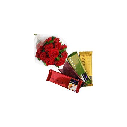 4 Cadbury Temptation Bars with 12 Red Roses Bunch