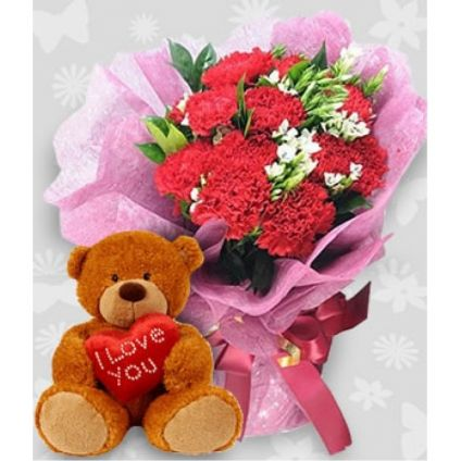 A bunch of 20 red roses, and (6-inch-cute teddy bear)