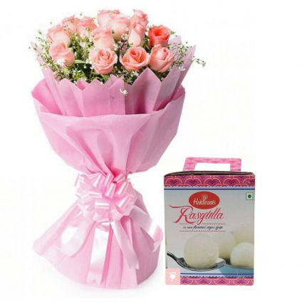 Bunch of 12 Pink Roses Bunch & 1/2 kg Rasgullas