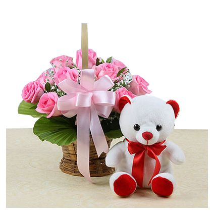 10 Pink Roses with White Teddy Bear