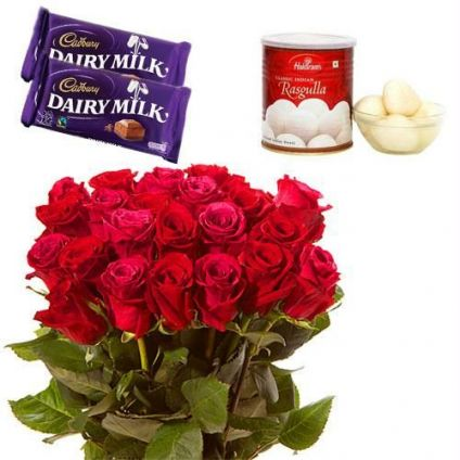 12 Red Roses With 1 Kg Rasgulla and 2 Cadbury Dairy Milks