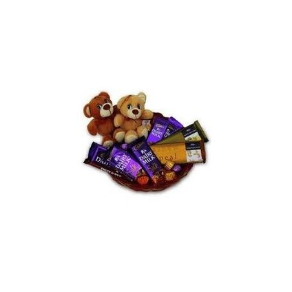 Basket of 10 mixed chocolates and 2 cute 6 inch teddy bears