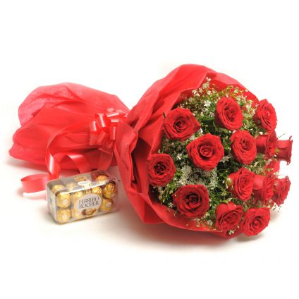 Supple Gesture and Bouquet of 10 Red Roses , Ferraro Rocher Chocolate Box - 16 pcs