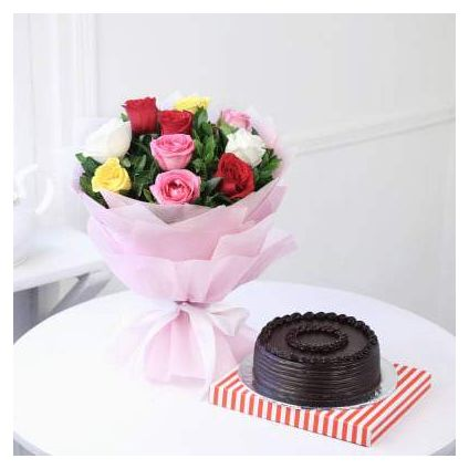 10 mixed roses and 1 kg Chocolate Truffle cake