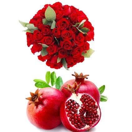 Roses With Pomegranate