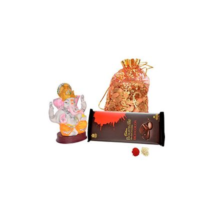 200gms of mixed Dryfruits,a Bourville chocolate and Lord Ganesh