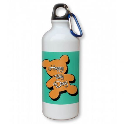 Happy Teddy Day Yellow Background Sipper 600 Ml Water Bottle