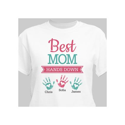 Personalized Best Mom Hands Down T-Shirt