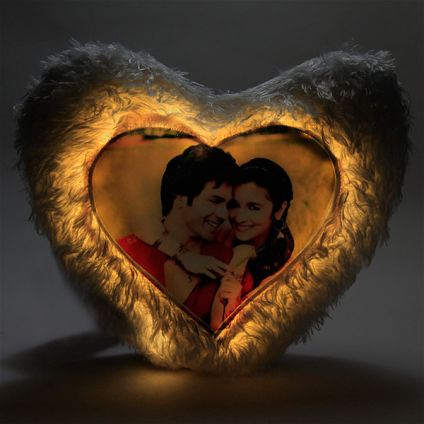 Dazzling Heart LED Cushion Pillow Personalized With Photo