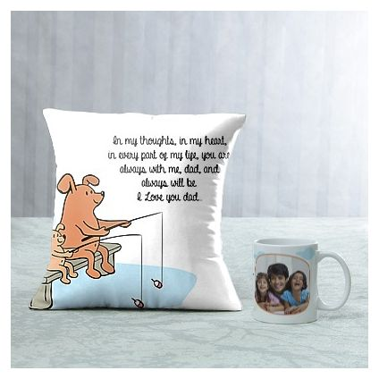 Love You Dad Personalized Mug and cushion