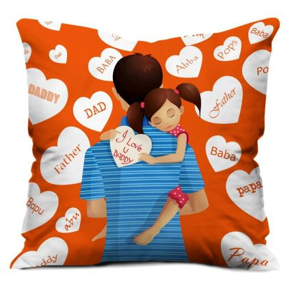 Love You Daddy Orange Small Cushion with Filler 12X12
