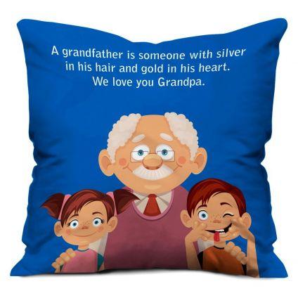 Grandchildren Love Blue Small Cushion with Filler 12X12