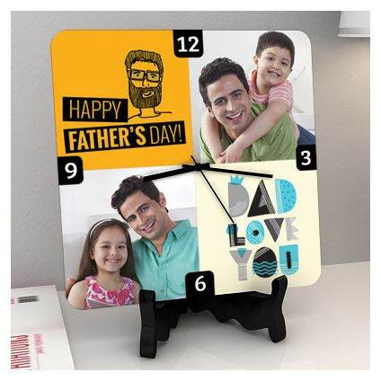 Father's Day Love Personalized Square Shaped Clock