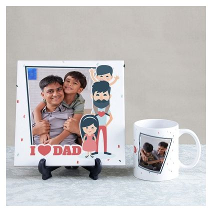 I Love Dad Personalized Tile & Mug