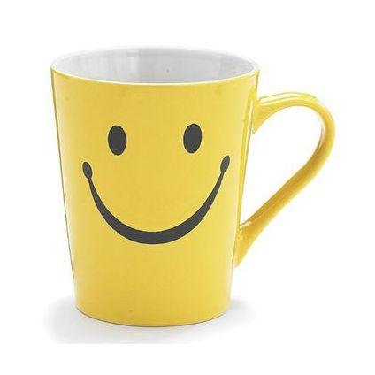 Kids Ceramic Mug Smiley Face Print White & Yellow