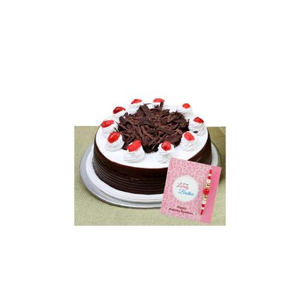 Black forest Cake with Rakhi and Greeting Card