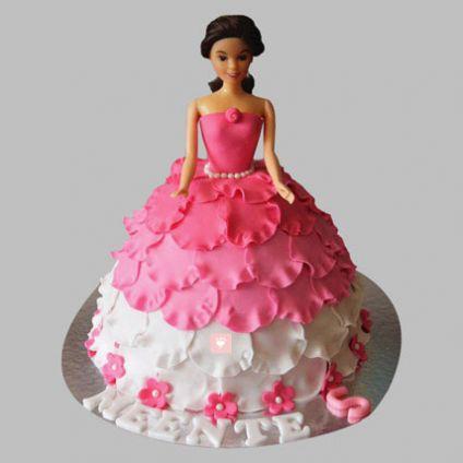 White N Pink Floral Barbie Cake