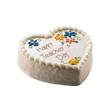 Heart Shaped Vanilla Teacher?s Day Cake