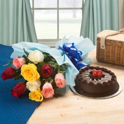 Chocolate Cake And Mixed Roses