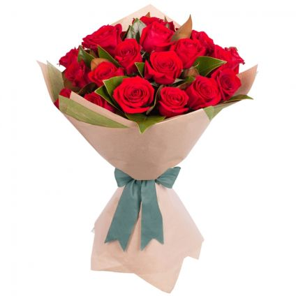 Red roses with paper packing